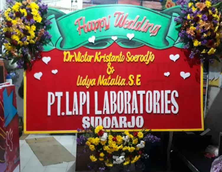 papan bunga happy wedding madiun